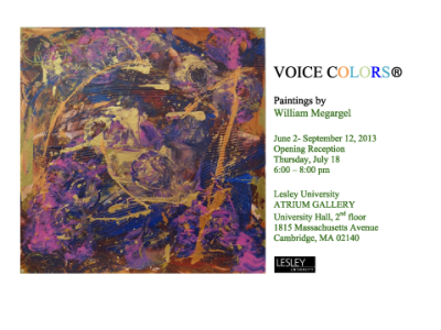 Invitation for Billy Megargel's Art Show at Lesley University June 2013